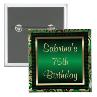 75th Birthday Party | Green Metallic & Gold 15 Cm Square Badge