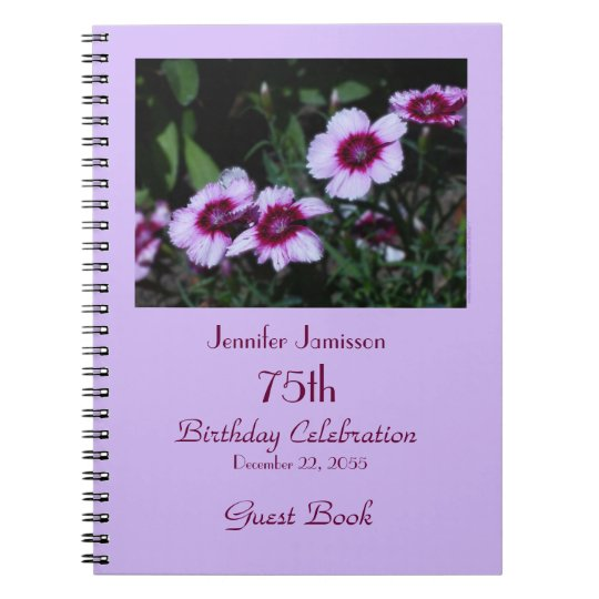75th Birthday Party Guest Book, Purple Flowers Notebook