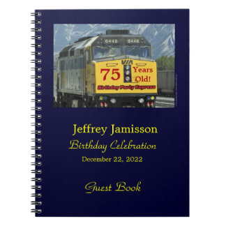 75th Birthday Party Guest Book, Yellow Train Spiral Notebook