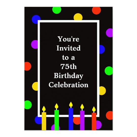 75th Birthday Party Invitation Colourful Candles