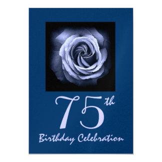 75th Birthday Party Invitation Dreamy Blue Rose