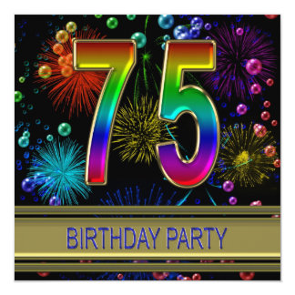 75th Birthday party Invitation with bubbles