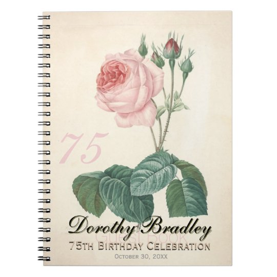 75th Birthday Party Old Rose Custom Guest Book