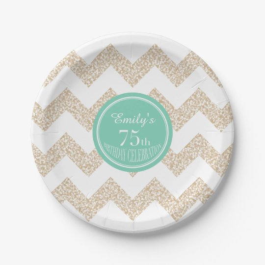 75th Birthday Party Paper Plates - Choose Colour