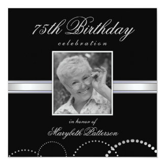 """75th Birthday Party Photo Invitations Silver Black 5.25"""" Square Invitation Card"""