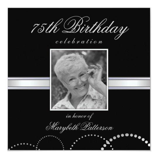 75th Birthday Party Photo Invitations Silver Black