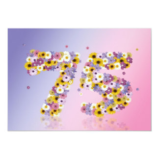 75th Birthday party, with flowered letters Announcements