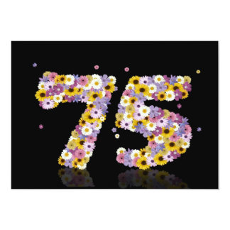 75th Birthday party, with flowered letters 13 Cm X 18 Cm Invitation Card