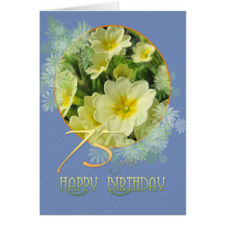 75th Birthday Primroses and blue Greeting Card