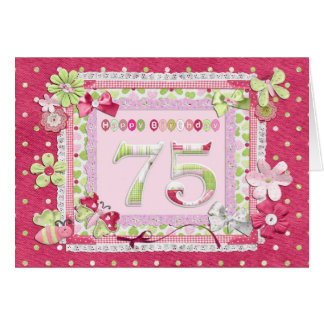 75th birthday scrapbooking style greeting card