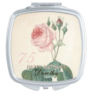 75th Birthday Vintage Rose Personalized Makeup Mirror