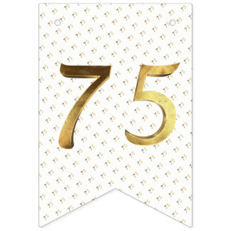 75th Birthday Wedding Anniversary Gold Number Bunting