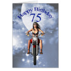 75th birthday with a biker girl card