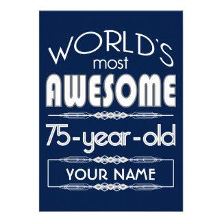 75th Birthday Worlds Best Fabulous Dark Blue Personalized Invites