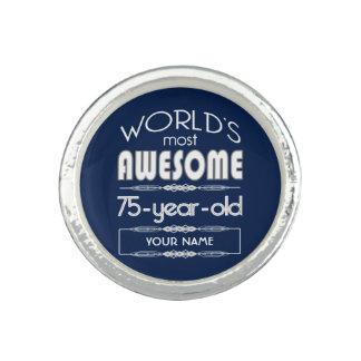 75th Birthday Worlds Best Fabulous Dark Blue Rings
