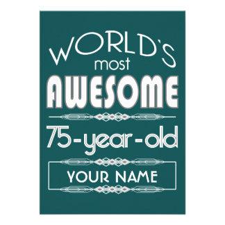 75th Birthday Worlds Best Fabulous Dark Green Personalized Announcement