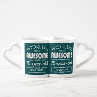 75th Birthday Worlds Best Fabulous Dark Green Couples Mug