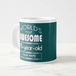 75th Birthday Worlds Best Fabulous Dark Green Extra Large Mugs