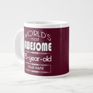 75th Birthday Worlds Best Fabulous Dark Red Jumbo Mug