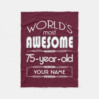 75th Birthday Worlds Best Fabulous Dark Red Maroon Fleece Blanket