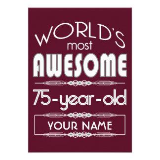 75th Birthday Worlds Best Fabulous Dark Red Maroon Invitation