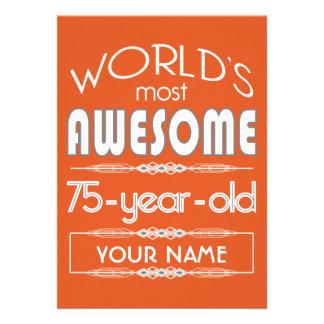 75th Birthday Worlds Best Fabulous Flame Orange Invite