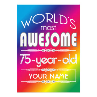75th Birthday Worlds Best Fabulous Rainbow Personalized Invitations