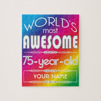 75th Birthday Worlds Best Fabulous Rainbow Jigsaw Puzzle