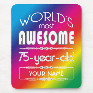 75th Birthday Worlds Best Fabulous Rainbow Mouse Pad