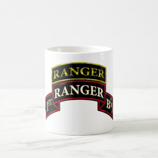 75th Ranger 1st Battalion w/Tab Basic White Mug