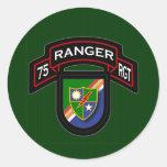 75th Ranger Rgt - scroll & flash Round Sticker