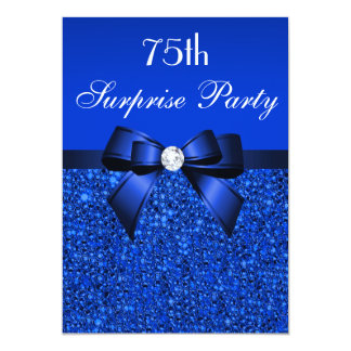 75th Surprise Party Royal Blue Sequins and Bow 13 Cm X 18 Cm Invitation Card