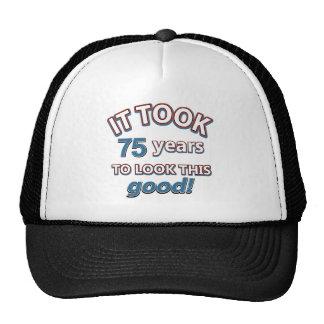 75th year birthday designs cap