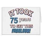 75th year birthday designs card