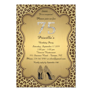 75thBirthday Party , 75th,Cheetah High Heels Shoes 13 Cm X 18 Cm Invitation Card