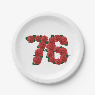 76  76th birthday anniversary number paper plate
