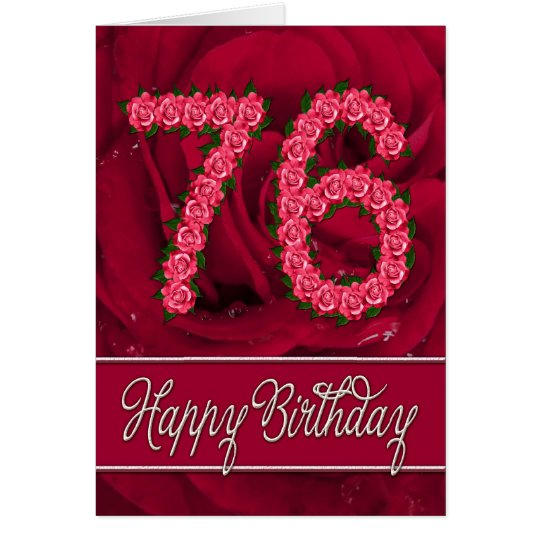 76th birthday card with roses and leaves