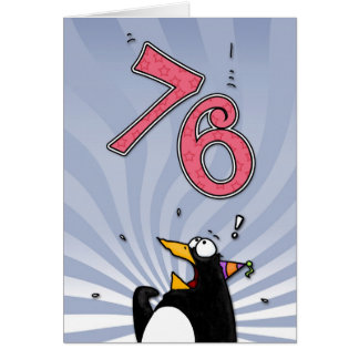 76th Birthday - Penguin Surprise Card