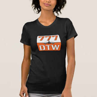 777 Airplane with DTW (Detroit) Airport T-Shirt