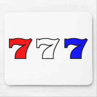 777 red white and blue mouse pad