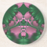 77 Pink and Green Abstract Garden Drink Coaster