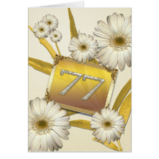 77th Birthday card with daisies.