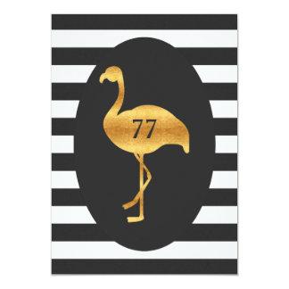 77th Birthday Gold Flamingo Black White Stripes 13 Cm X 18 Cm Invitation Card