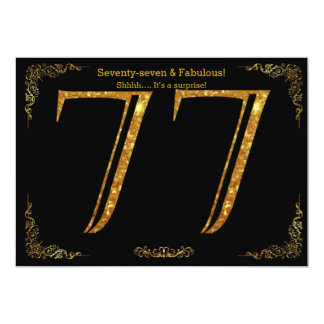 77th Birthday party,Gatsby styl,black gold glitter Card