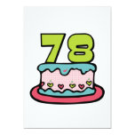 78 Year Old Birthday Cake Custom Invites