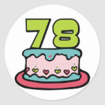 78 Year Old Birthday Cake Stickers