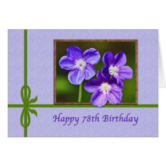 78th Birthday Card with Purple Violas
