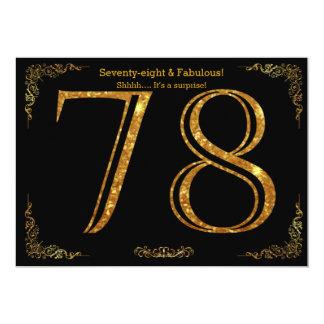 78th Birthday party,Gatsby styl,black gold glitter 13 Cm X 18 Cm Invitation Card