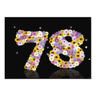 78th Birthday party, with flowered letters Announcement