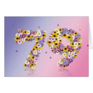 79th birthday card with flowery letters